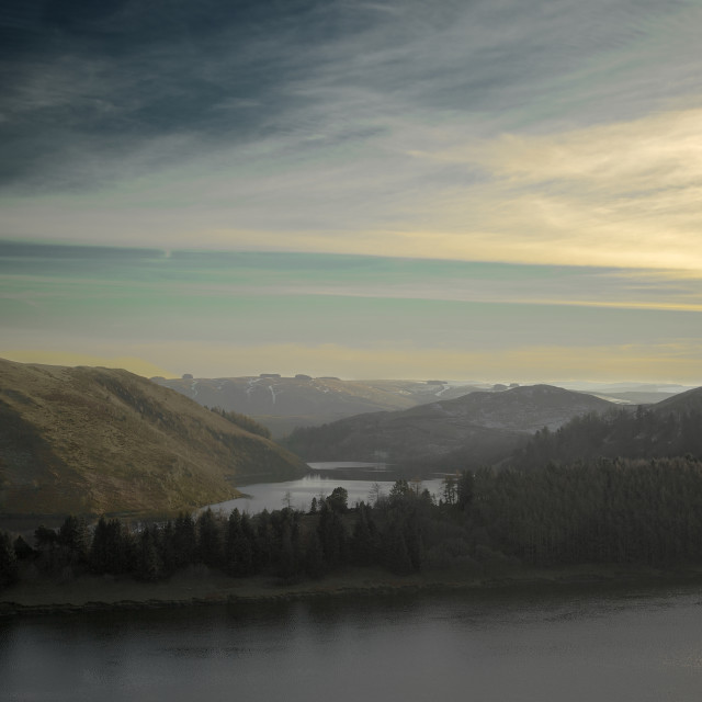 """""""Golden hour at Llyn Clywedog, Mid Wales."""" stock image"""
