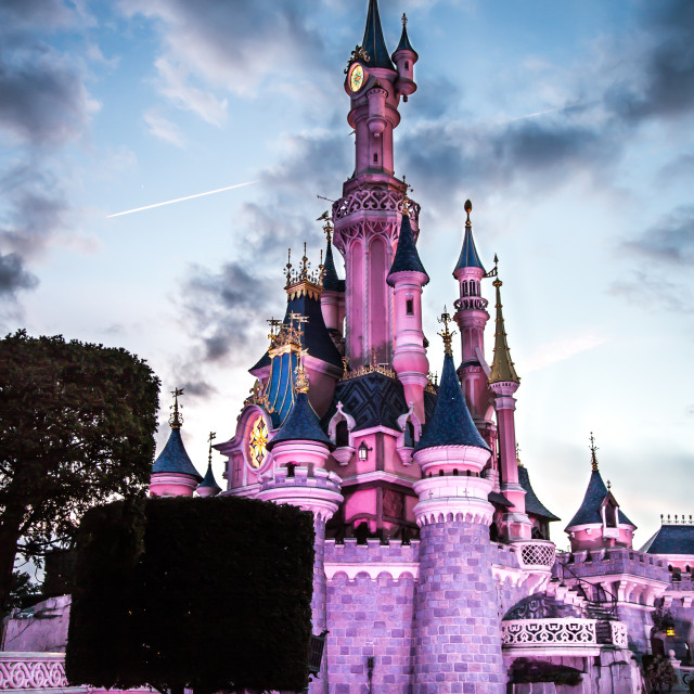 """Disney Castle at Dusk"" stock image"