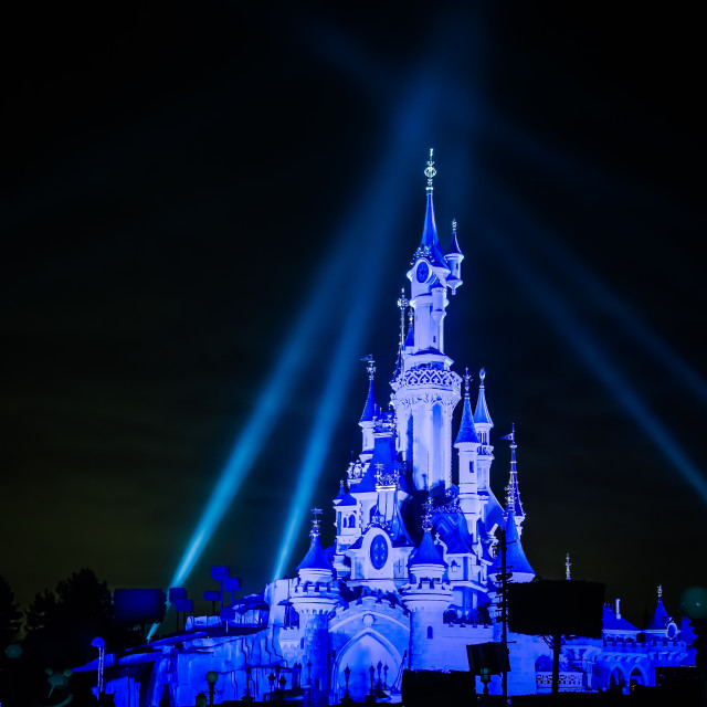 """Disney Castle at Night"" stock image"