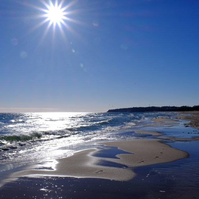 """""""Beach with blue Sky and the Sun"""" stock image"""