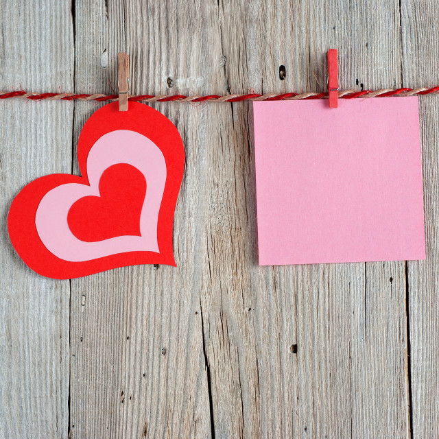 """Paper heart and blank note"" stock image"