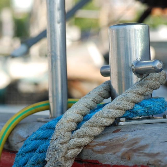"""Rope and mooring bollard"" stock image"