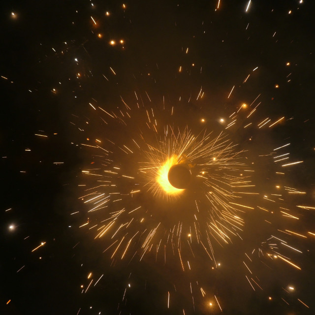 """""""The bright sparks from a Diwali Chakri - a fast spinning firework"""" stock image"""