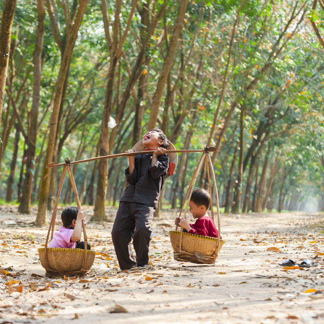 """Kids playing with the bamboo baskets and shoulder pole"" stock image"