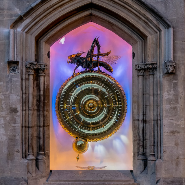 """The Corpus Clock and Chronophage in Cambridge."" stock image"