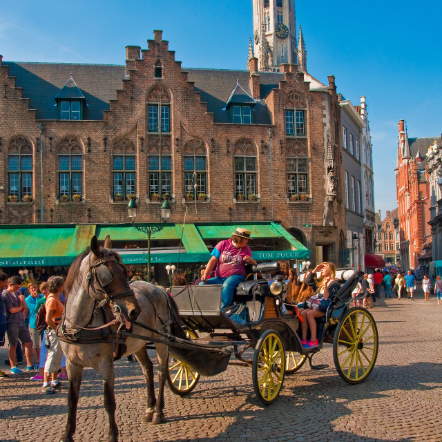 """Horse and Carriage, Bruges"" stock image"