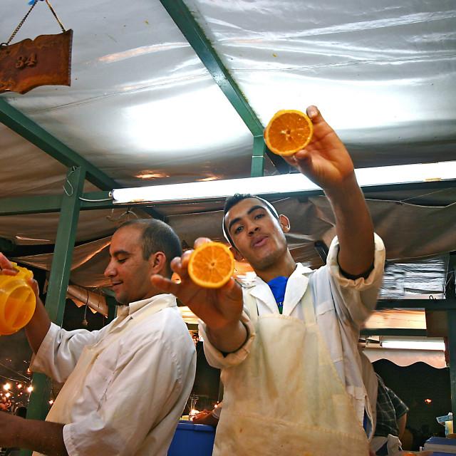 """Fresh orange juice in Jamaa El Fna"" stock image"