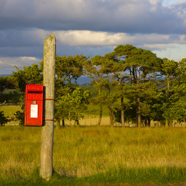 """Red post box on a pole"" stock image"