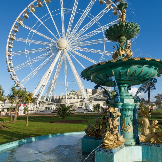 """The Riviera Wheel & Fountain - Torquay"" stock image"
