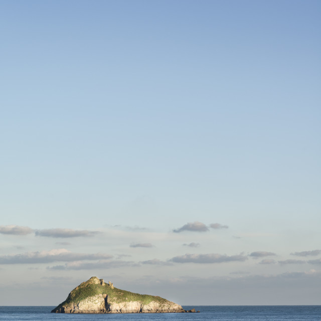 """""""Thatcher Rock - From Meadfoot Beach"""" stock image"""