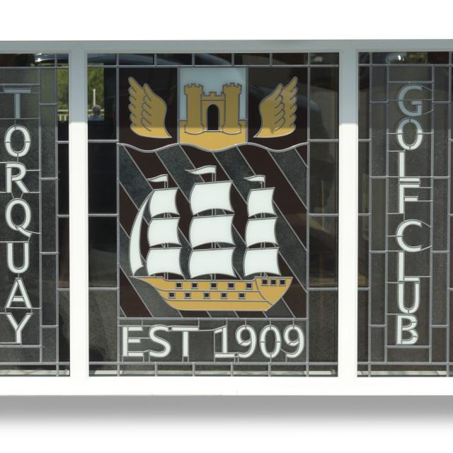 """Stained Glass Window - Torquay Golf Club - Torquay"" stock image"