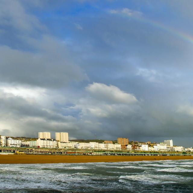 """Rainbow at Brighton"" stock image"