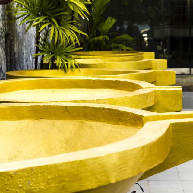 """Decorative yellow water features"" stock image"