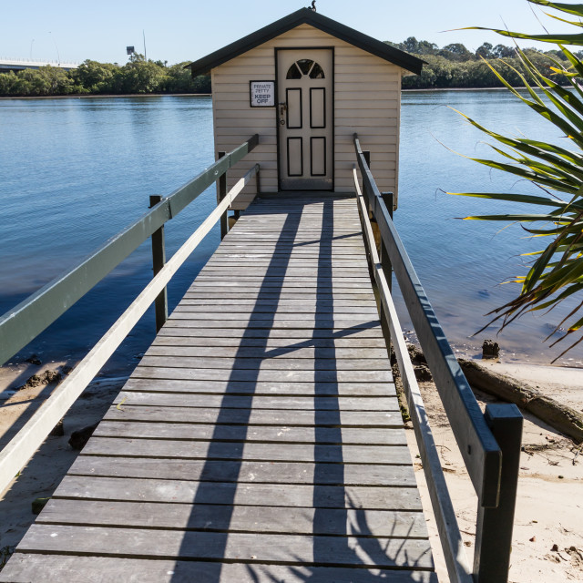 """""""Fishing cabin on Jetty"""" stock image"""