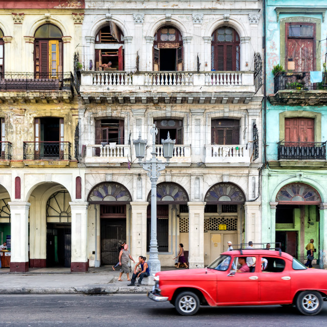 """Street scene with vintage car in Havana, Cuba."" stock image"