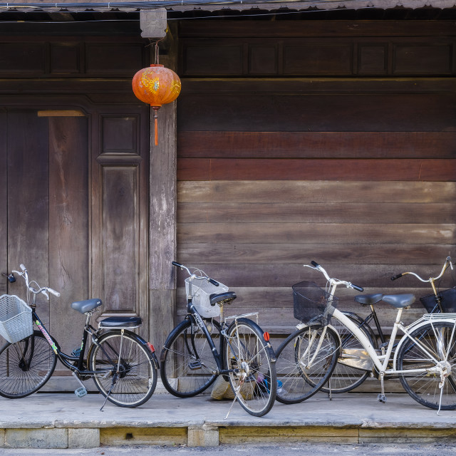 """Bicycles parking on the sidewalk"" stock image"