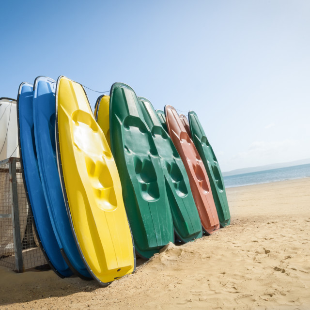 """beach canoes"" stock image"