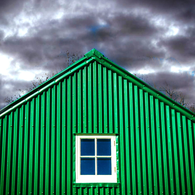 """Corrugated sheet building"" stock image"