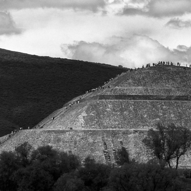 """Pyramid Climbers, Teotihuacan, Mexico"" stock image"