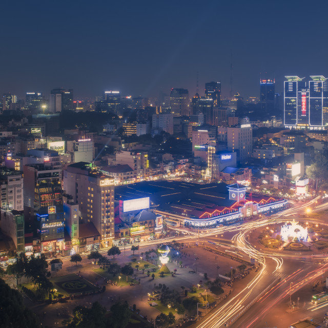 """Aerial night view of Ben Thanh market"" stock image"