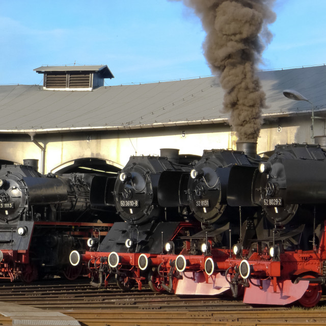 """Steam Locomotives in the Roundhouse"" stock image"