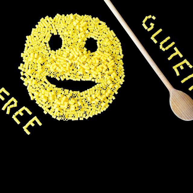 """gluten free pasta on a black background"" stock image"