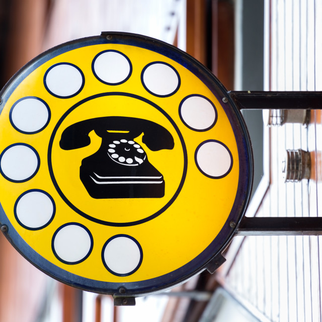 """""""public telephone indicated in the cartel"""" stock image"""