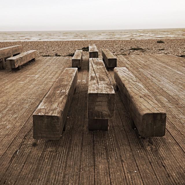 """Beach Bench"" stock image"