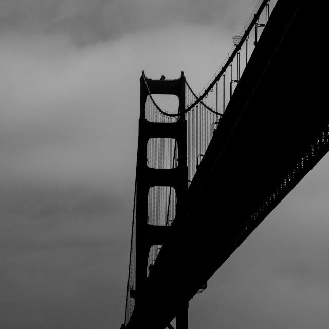 """Golden Gate Bridge, B+W"" stock image"