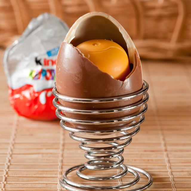 """Opened Kinder Surprise egg"" stock image"