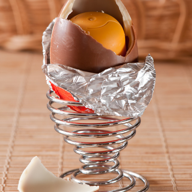 """""""Kinder surprise open chocolate egg"""" stock image"""