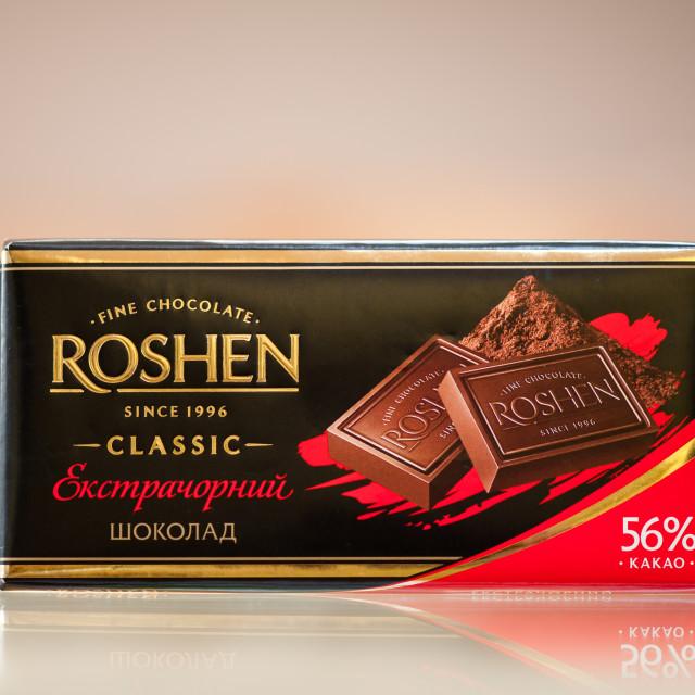 """""""Roshen Ukrainian dark chocolate"""" stock image"""