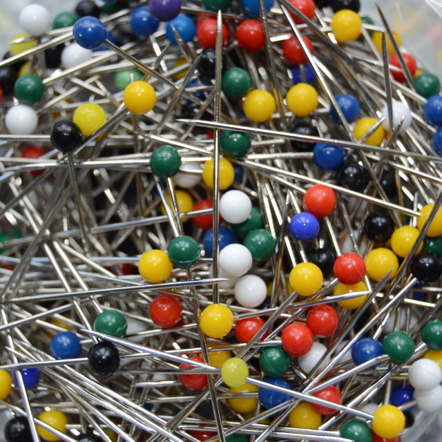 """""""A tub of dressmakers pins"""" stock image"""