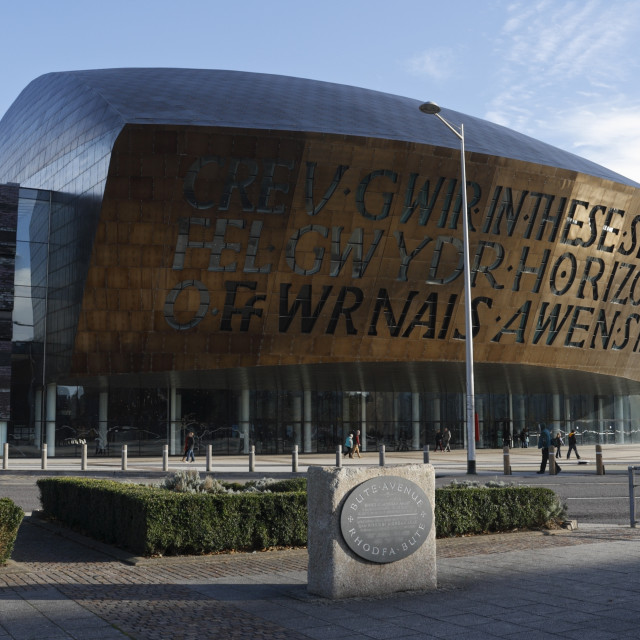 """Millennium centre in Cardiff Bay, Wales UK"" stock image"