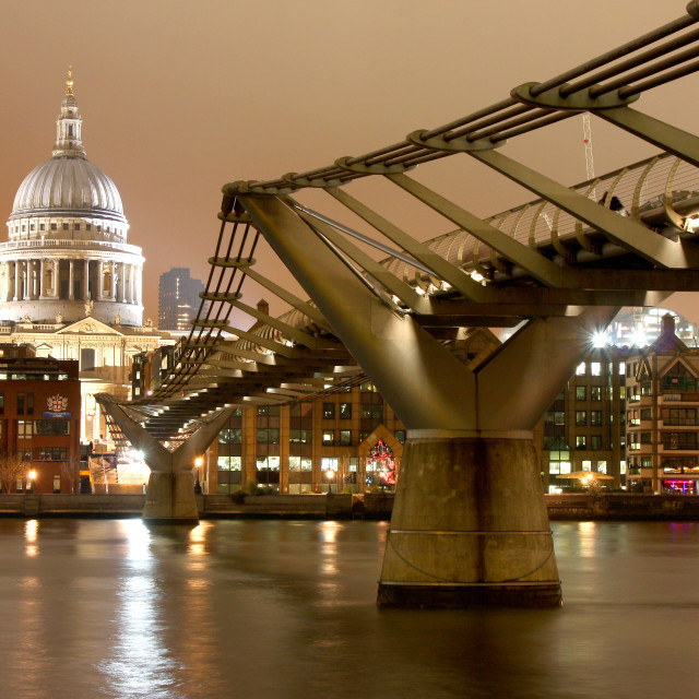 """St Pauls & Millenium bridge"" stock image"