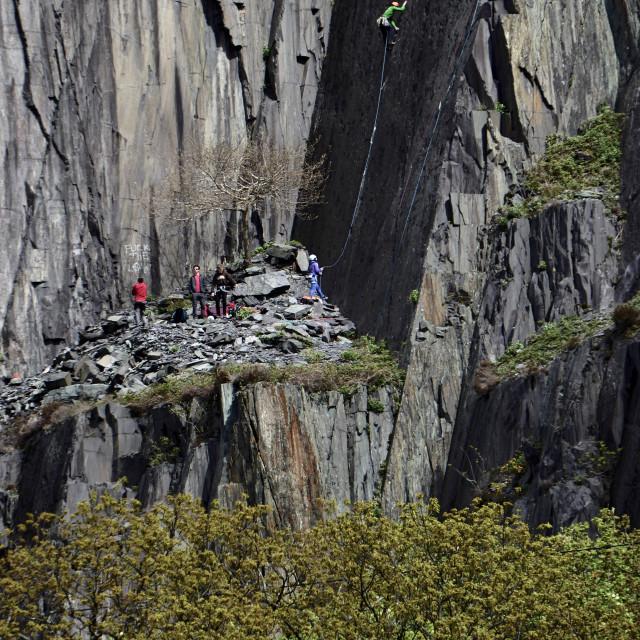 """""""Llanberis climbers"""" stock image"""