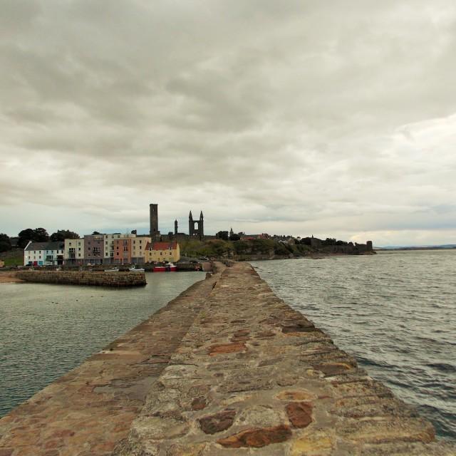 """St Andrews Harbour Pier"" stock image"