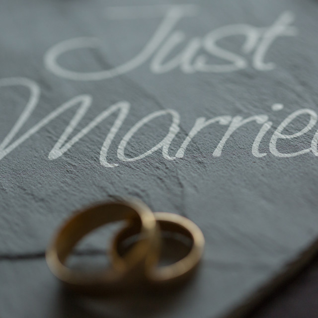"""Just married ring shot"" stock image"