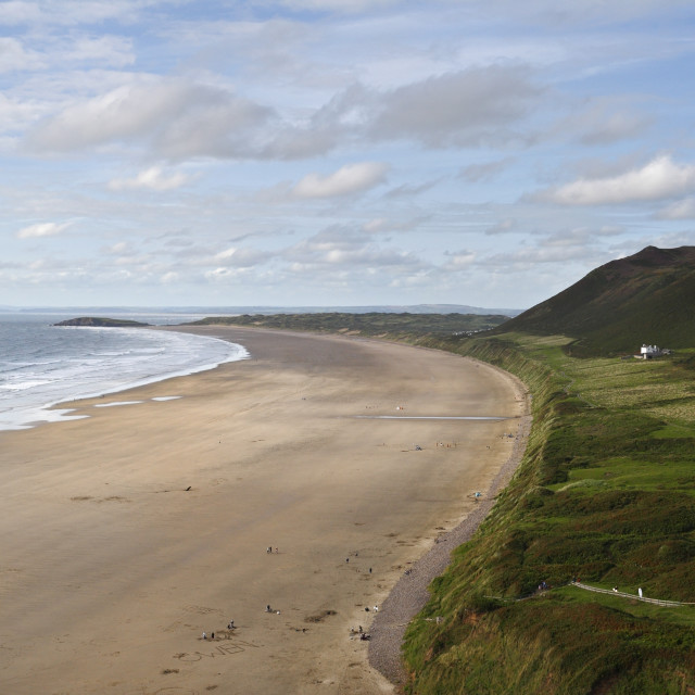 """""""Rhossili Beach on the Gower peninsula in Wales."""" stock image"""