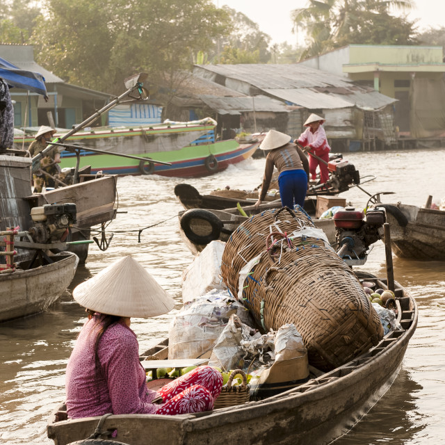 """Unidentified woman on a boat at Phong Dien Floating Market in Can Tho, Vietnam"" stock image"