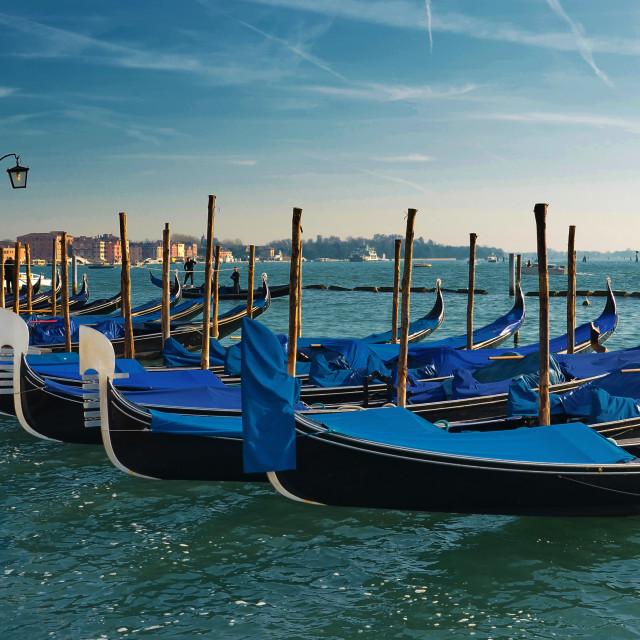 """""""Gondolas - Venice, Italy"""" stock image"""