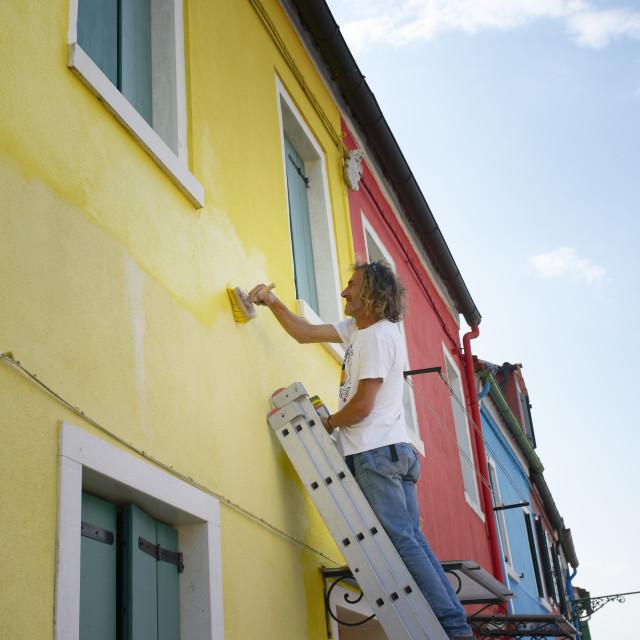 """""""Burano painter"""" stock image"""