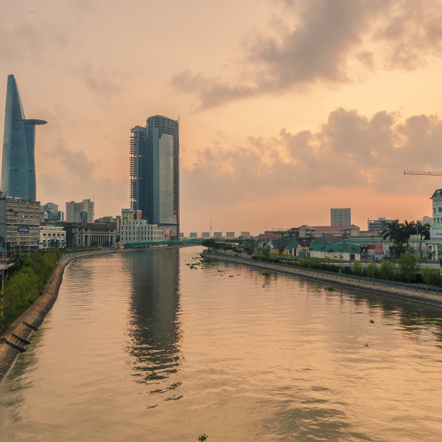 """""""Ho Chi Minh City business and administrtive central at dawn"""" stock image"""