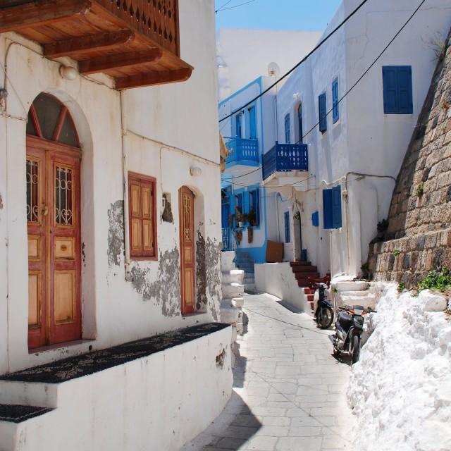 """Mandraki street, Nisyros"" stock image"
