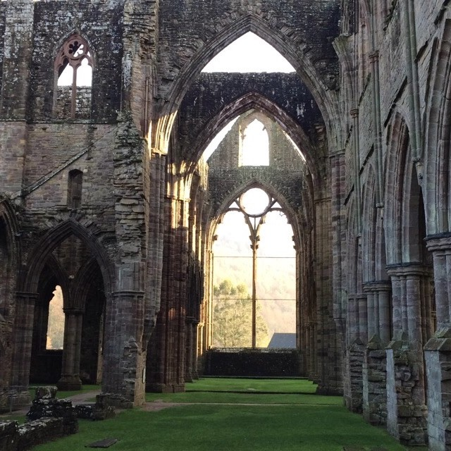 """Tintern Abbey in the morning Sun"" stock image"