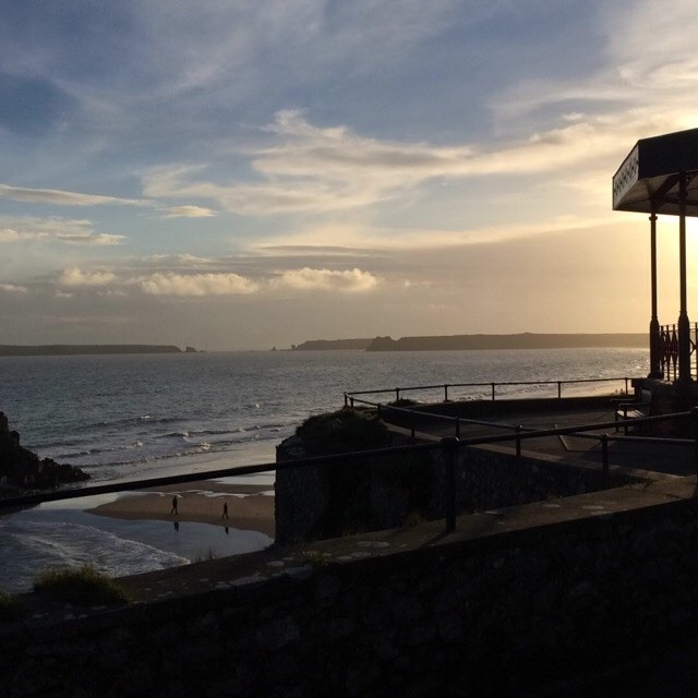 """Tenby bandstand at sunset"" stock image"