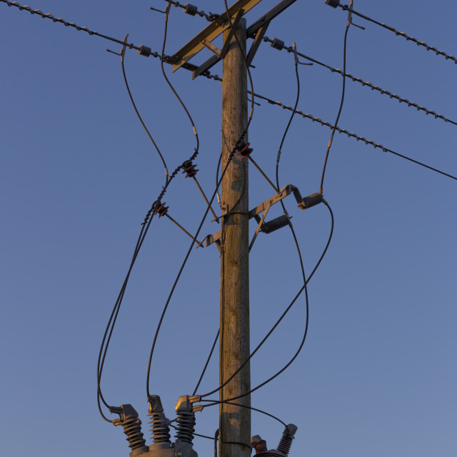 """""""Electricity telegraph in Red glow sunset light"""" stock image"""