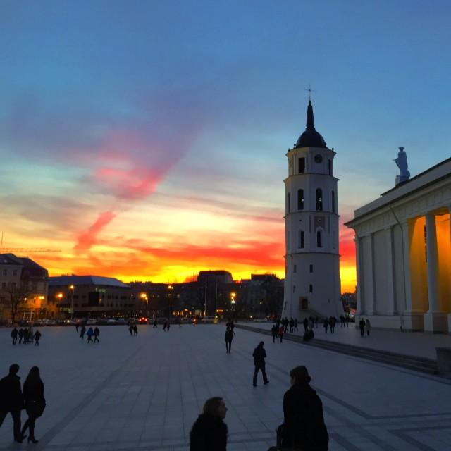 """Sunset in Vilnius"" stock image"