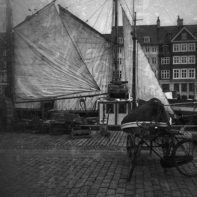 """Historic Nyhavn in Black and White"" stock image"