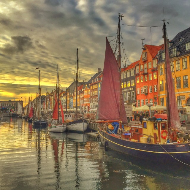 """A Very Historic Nyhavn at Sunset"" stock image"